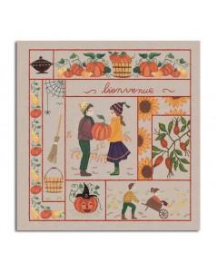 Bienvenue Octobre. Kit imprimé à broder de façon traditionnelle. Le Bonheur des Dames. 7710