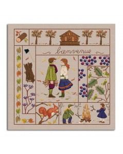 Welcome November. Printed design to stitch with traditional embroidery stitches. Le Bonheur des Dames. 7711