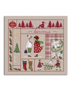 Welcome December. Printed design to stitch with traditional embroidery stitches. Le Bonheur des Dames. 7712