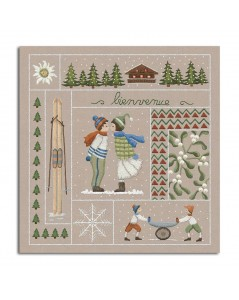 Welcome Januray. Printed design to stitch with traditional embroidery stitches. Le Bonheur des Dames. 7701