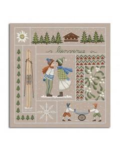 Bienvenue Janvier. Kit imprimé à broder de façon traditionnelle. Le Bonheur des Dames. 7701