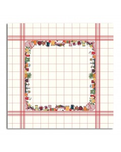 Tablecloth with fruits and jams. White linen with red grid. Counted cross stitch embroidery. Le Bonheur des Dames. 140 x 140 cm