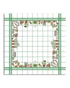Tablecloth with vegetables. White linen with green grid. Counted cross stitch embroidery. Le Bonheur des Dames. 140 x 140 cm
