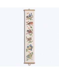 Suspension à broder 16 x 88 cm. Motif: oiseaux de jardin. Permin of Copenhagen. 357116