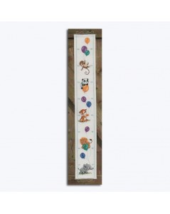 Height board to stitch by cross stitch. Motif: Animals with ballons. Permin of Copenhagen. 351738