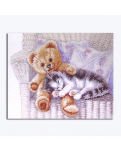 Counted cross stitch embroidery kit. Kitten with a teddy bear. Permin of Copenhagen 902401