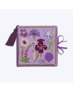 Étui à aiguilles carnet en lin mauve, brodé. Motif: fleurs mauves. Le Bonheur des Dames 3476