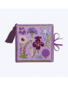 Needle case - book with felt pages. Lilac linen cover to stitch.  Motive - lilac and blue flowers. Le Bonheur des Dames 3476