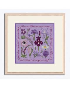 Miniature picture lilac and blue flowers to stitch by cross stitch on lilac linen. Le Bonheur des Dames 2281