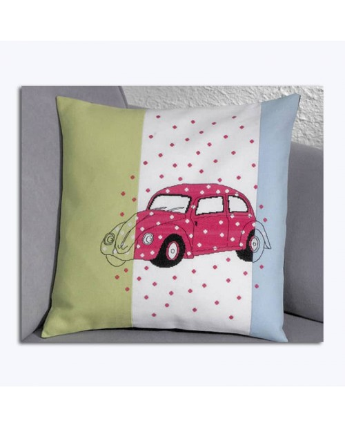Pink car embroidered on three different fabrics: blue, green, white. Le Bonheur des Dames 834326