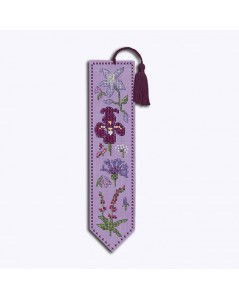 Bookmark to stitch by cross stitch on lilac color even-weave linen. Motive: blue and violet flowers. Le Bonheur des Dames 4587