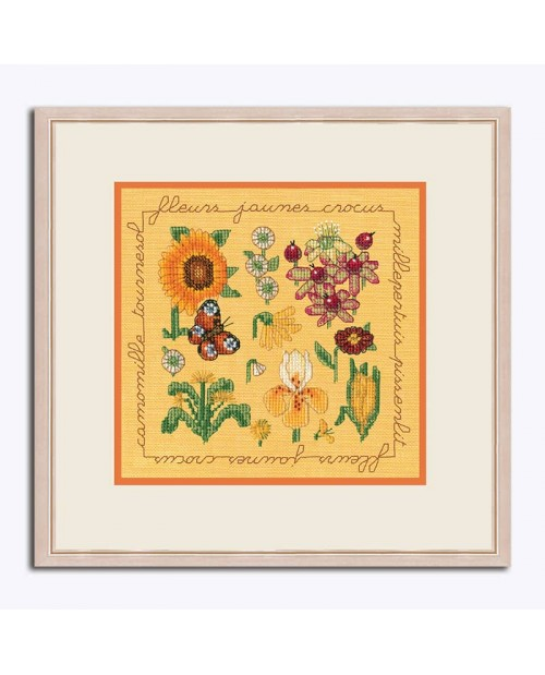 Miniature picture yellow and orange flowers to stitch by cross stitch on yellow linen. Le Bonheur des Dames 2282
