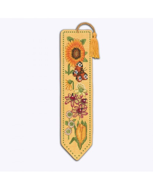 Bookmark to stitch by cross stitch on yellow even-weave linen. Motive: yellow and orange flowers. Le Bonheur des Dames 4588