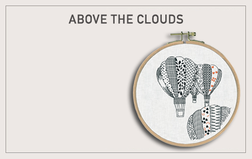 Hot Air Ballons in monochrome. Traditional embroidery kit. Printed design. Le Bonheur des Dames 1546
