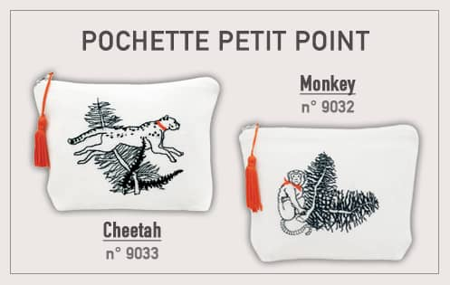 Pochettes to stitch by petit point. Monkey and cheetah. 12 thread/cm linen. Le Bonheur des Dames. Items n° 9032 and 9033.