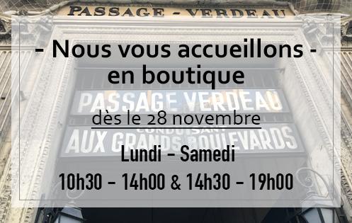 Boutique au 8, Passage Verdeau Paris 9e ouvre ses portes dès le 28 novembre.