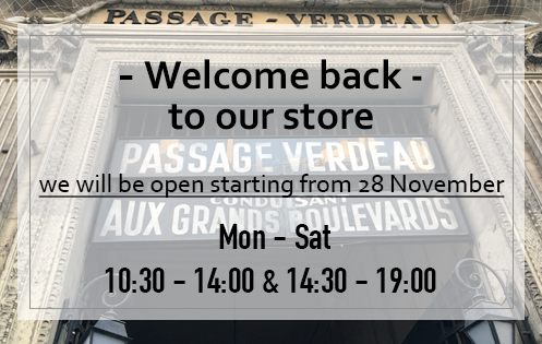 The store at 8, Passage Verdeau will be open again starting from 28 November.