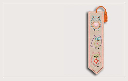 Bookmark Owls. Printed design. Traditional embroidery. Le Bonheur des Dames. 4715