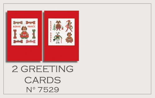 2 greeting cards to cross stitch n° 7529