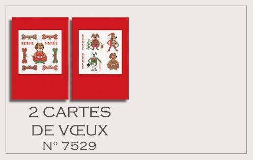 2 Cartes Bonne Année Chiens 7529