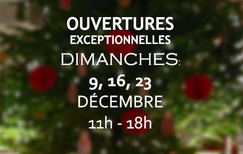 Ouvertures exceptionnelles en décembre 2018