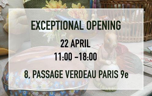 Exceptional opening on 22 April 2019. 11:00-18:00. 8, Passage Verdeau 75009 Paris