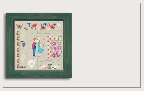 Welcome August. Printed kit, traditional embroidery. Le Bonheur des Dames 7708