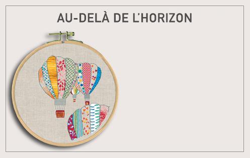 Kit broderie traditionnelle, sur toile imprimée, Montgolfières en couleurs. Le Bonheur des Dames 1546