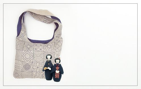 Bag to stitch and to sew Sashiko style. Le Bonheur des Dames 2916