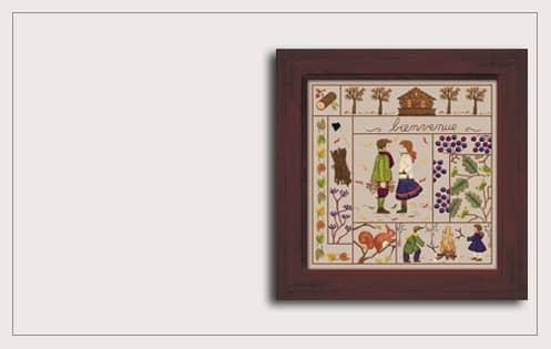 November. Printed kit. Traditional embroidery n° 7711 Le Bonheur des Dales 6217 et 6218