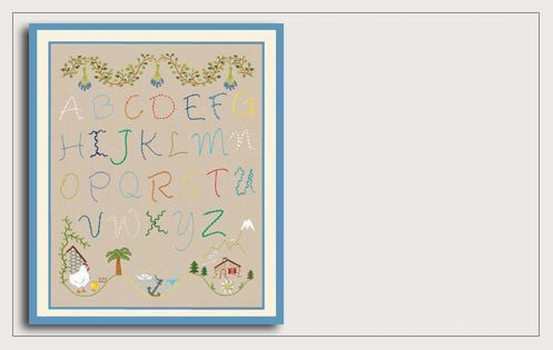 Traditional embroidery kit. Printed kit. Summer Alphabet. 2594