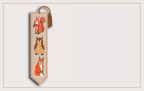 Marque-page Les Animaux de la Forêt. Broderie traditionnelle. Référence 4710. Le Bonheur des Dames.