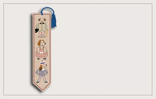 Traditional embroidery kit. Printed kit. Bookmark Dogs. 4717