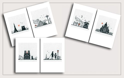 Greeting cards to embroider. Parisian motives. Series 75