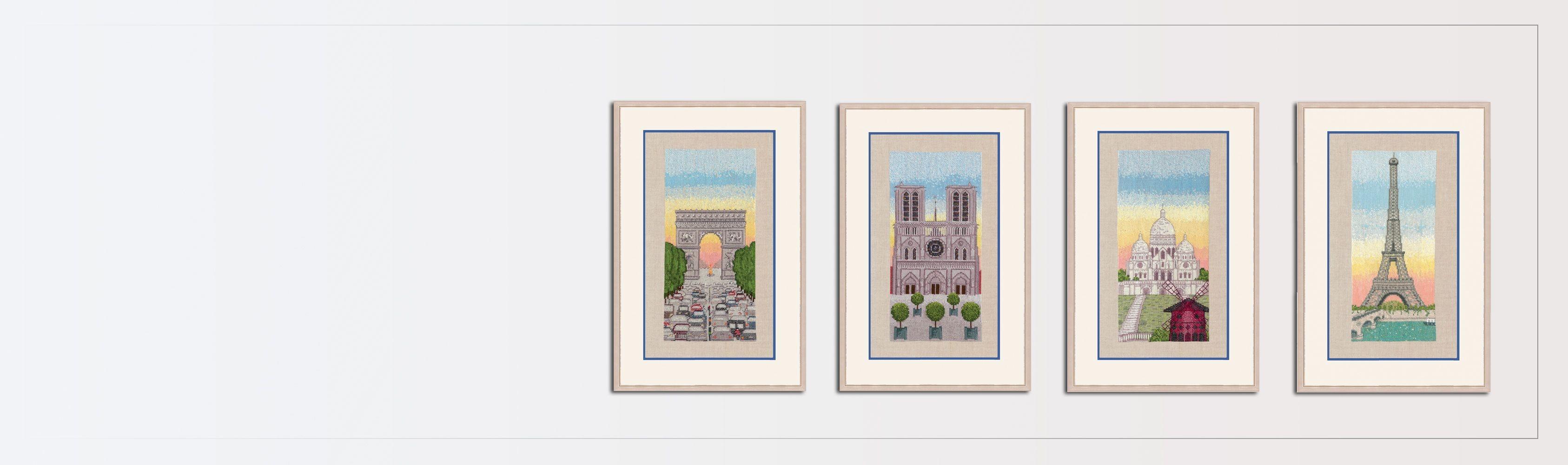 Counted cross stitch kits. Embroidery kits. Motive - the Eiffel Tower, Notre Dame de Paris, Arc de Triomphe, Sacre Coeur. Le Bonheur des Dames