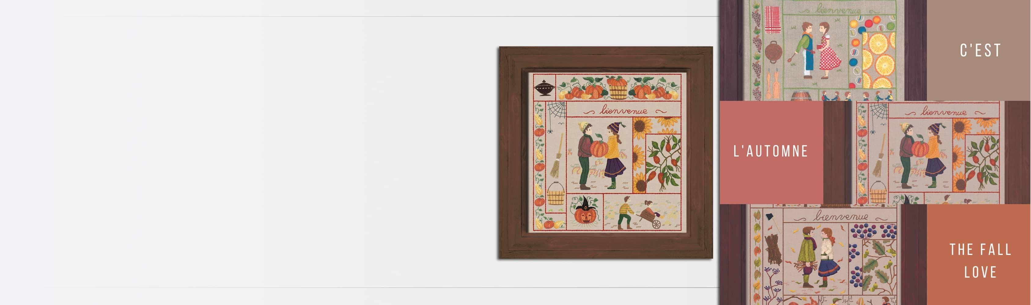 Welcome Kits - September, October, November. Traditional embroidery, printed design. Le Bonheur des Dames series 77