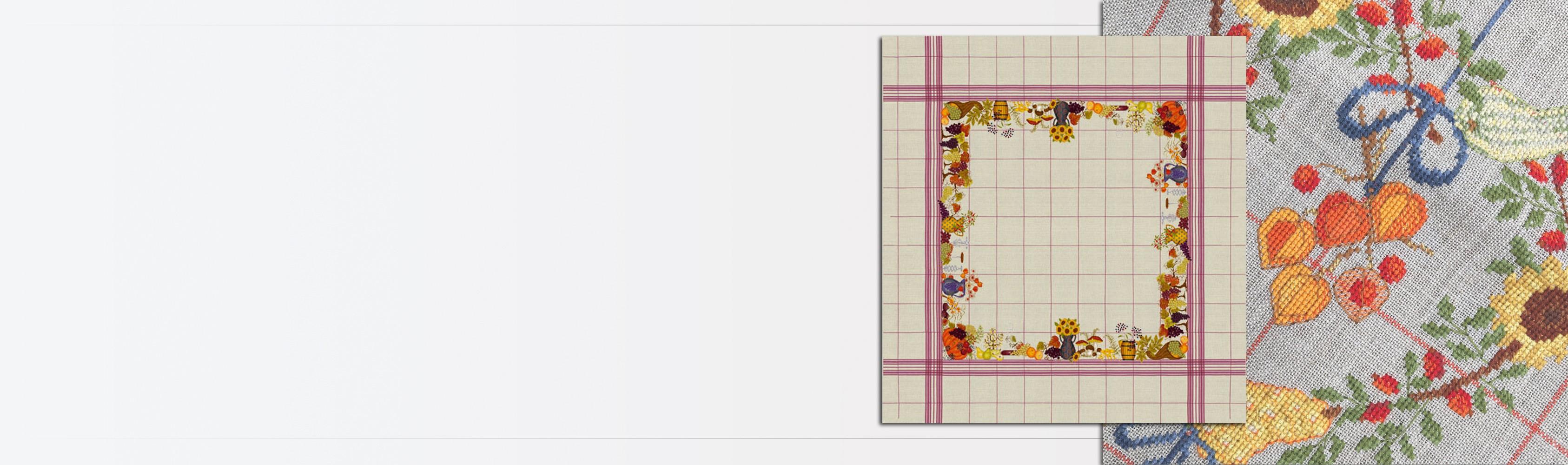 Tablecloth Autumn - counted cross stitch embroidery on natural linen. Le Bonheur des Dames 6034