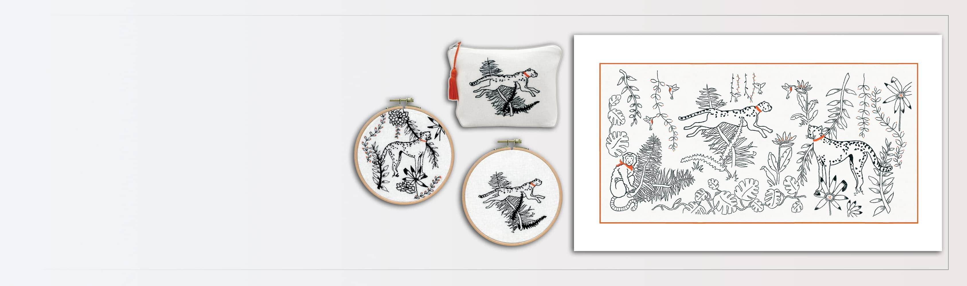 Animals of the jungle – traditional embroidery 2595. The cheetah's chase 3666. The cheetah 3663. Pochette Cheetah 9033 – Petit point. Le Bonheur des Dames.