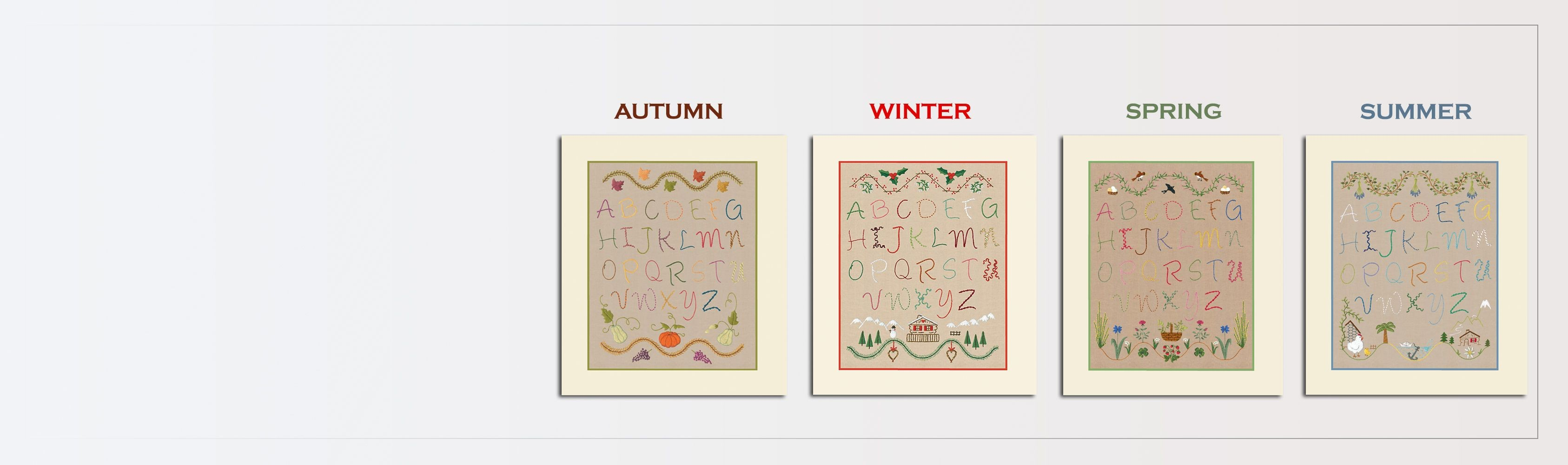 Traditional embroidery kits. Alphabets: Autumn, Winter, Spring, Summer. Le Bonheur des Dames