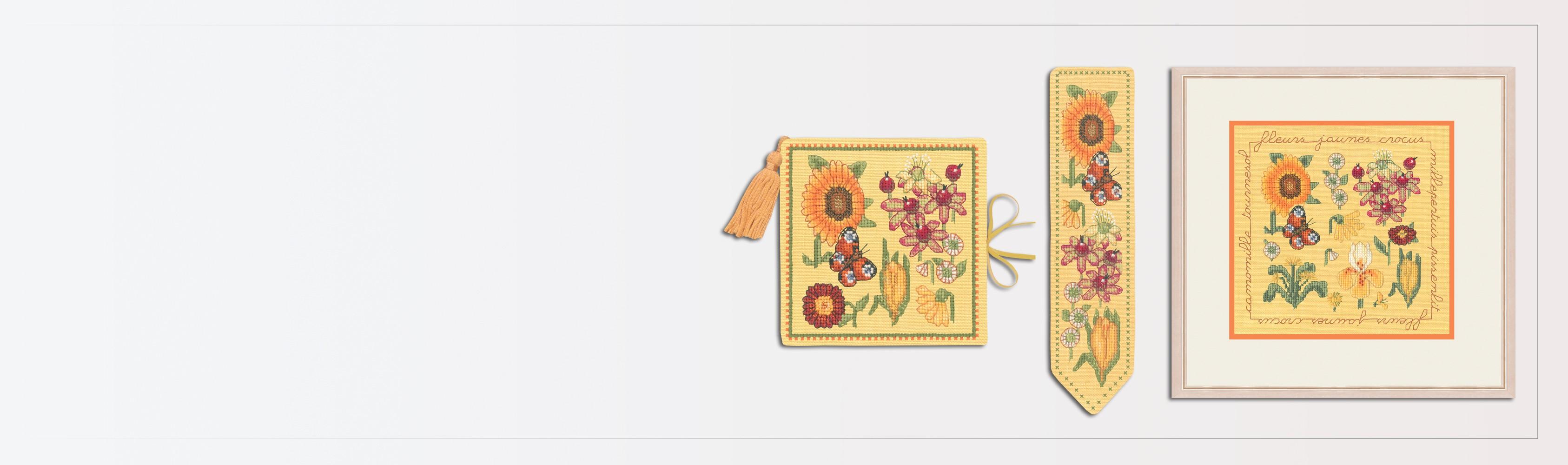 Counted cross stitch kit - Yellow flowers - the autumn trio. Needle case, bookmark, miniature picture. Le Bonheur des Dames