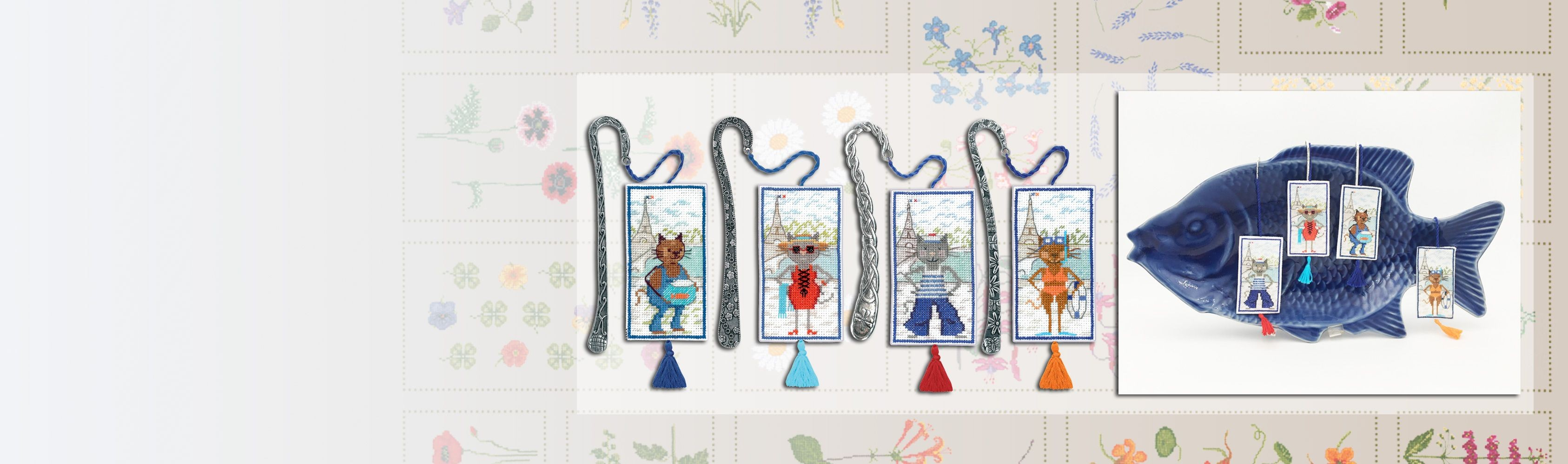 Counted cross stitch bookmarks. Embroidery kits. Motive Cats. Le Bonheur des Dames