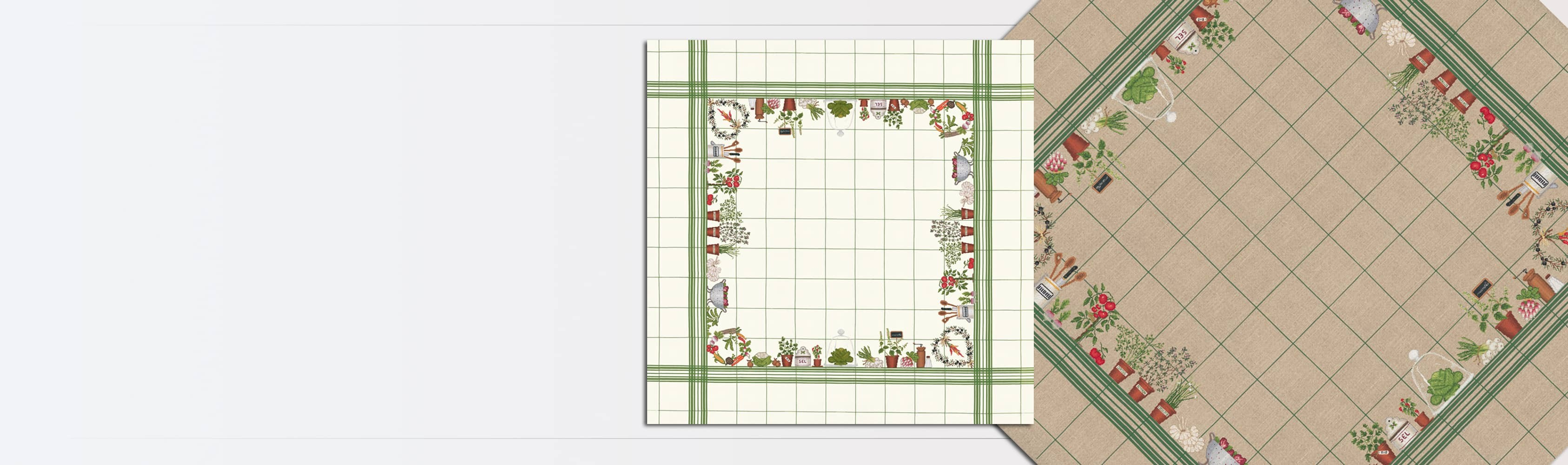 Tablecloth Vegetables on white linen with green grid. Counted cross stitch. Le Bonheur des Dames