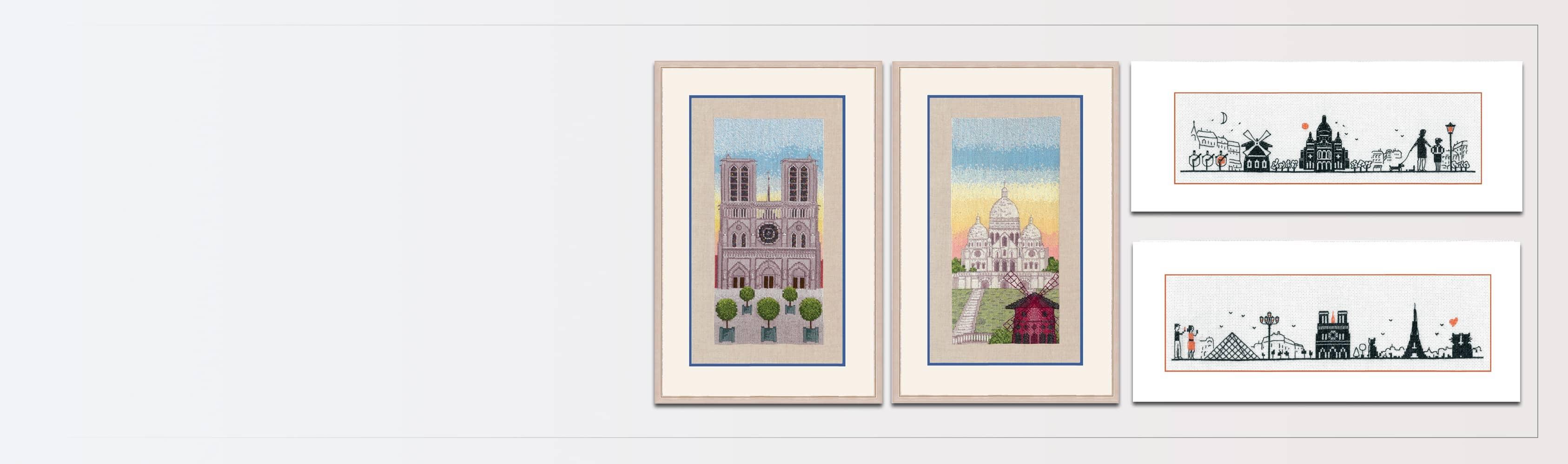 Monuments de Paris. Rive gauche et rive droite. Kits à broder au point de croix, point compté. Le Bonheur des Dames