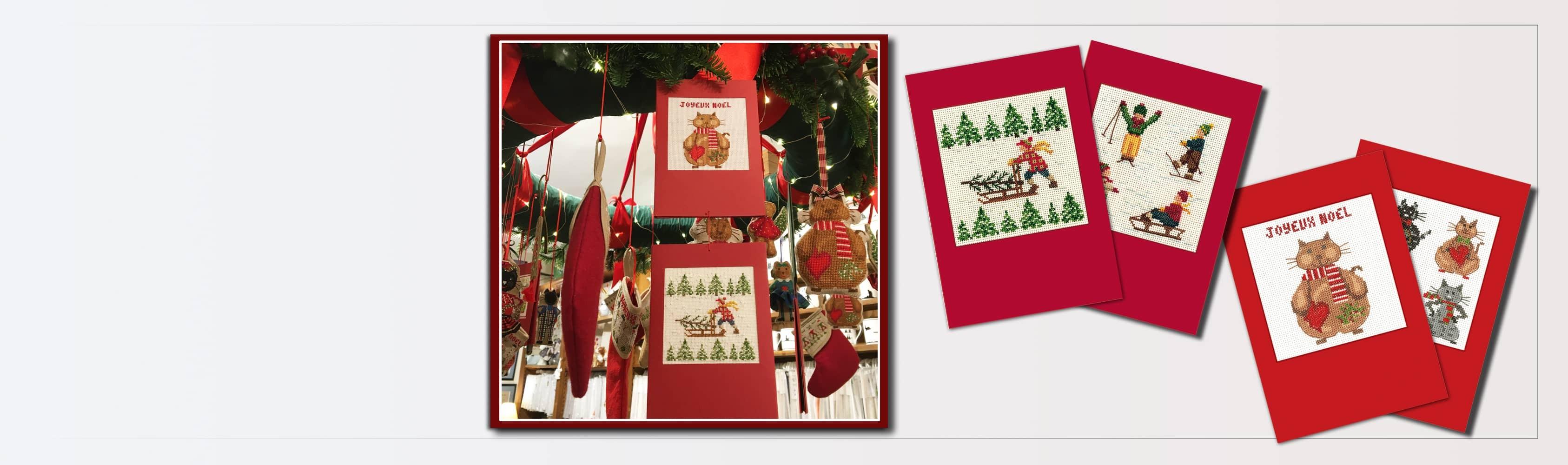 Cartes de vœux: Fêtes Fin d'Année 7035, Chats Joyesuses Fêtes 7527. Kits à broder au point de croix, sur toile Aida.
