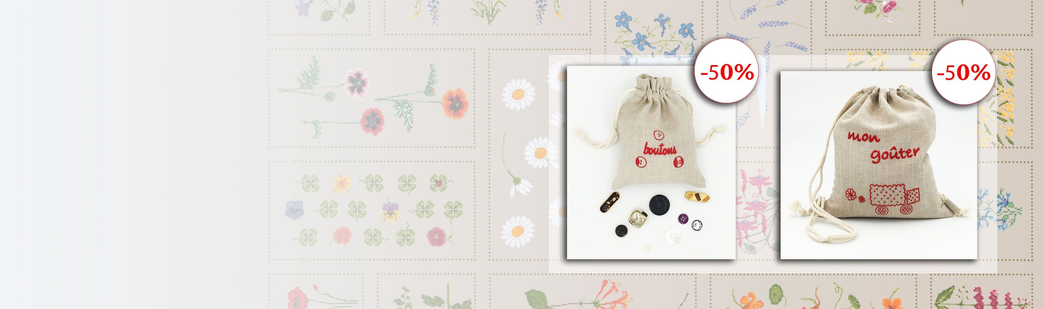 Embroidered Accessories: linen bag Mon Goûter and linen pochette Boutons