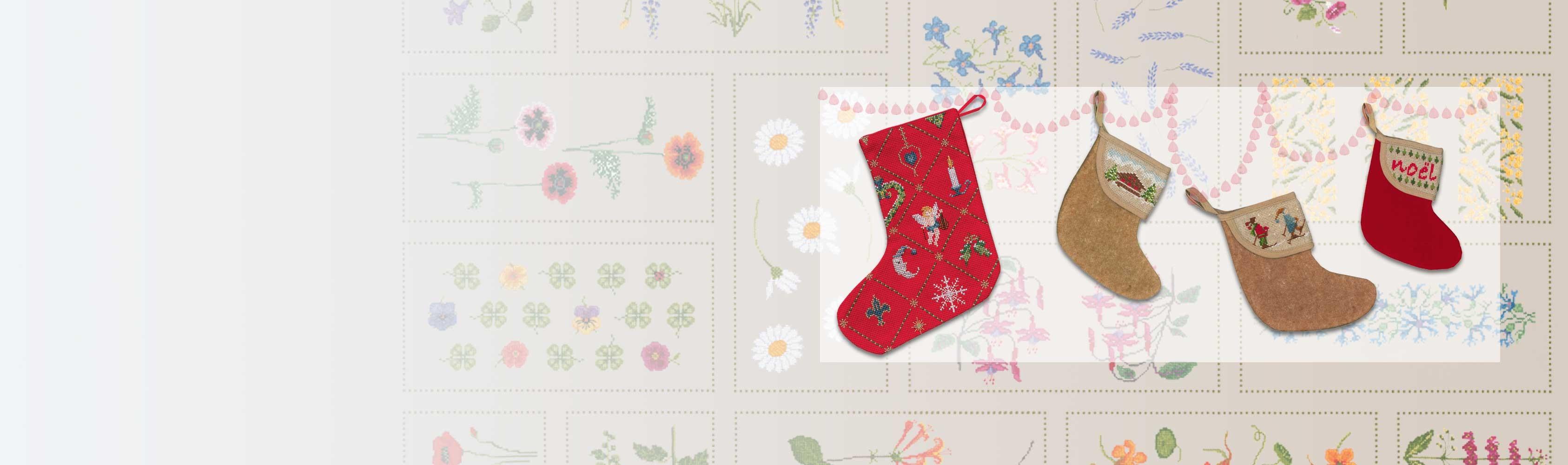Kits à broder Bottes de Noël par Cécile Vessière pour Le Bonheur des Dames