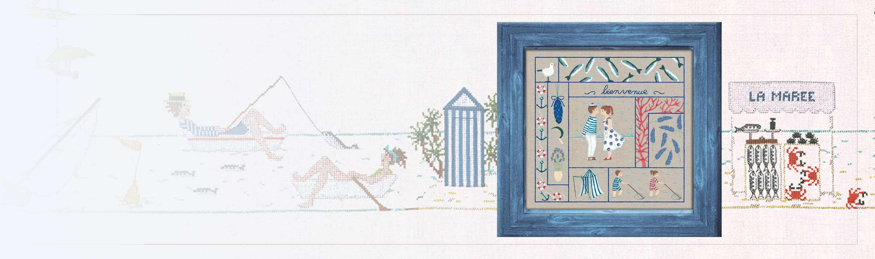 Welcome July - traditional embroidery, printed kit. Le Bonheur des Dames 7707