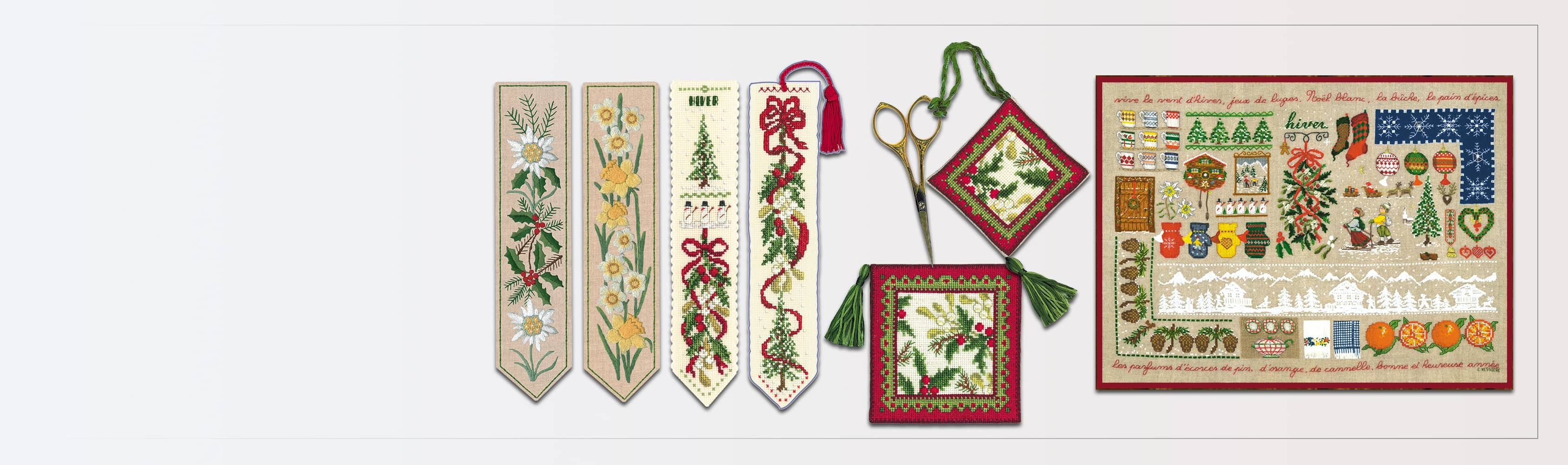 Bookmarks and other winter accessories to embroider by counted stitch and by traditional embroidery stitches. Kits designed by Cécile Vessière for Le Bonheur des Dames