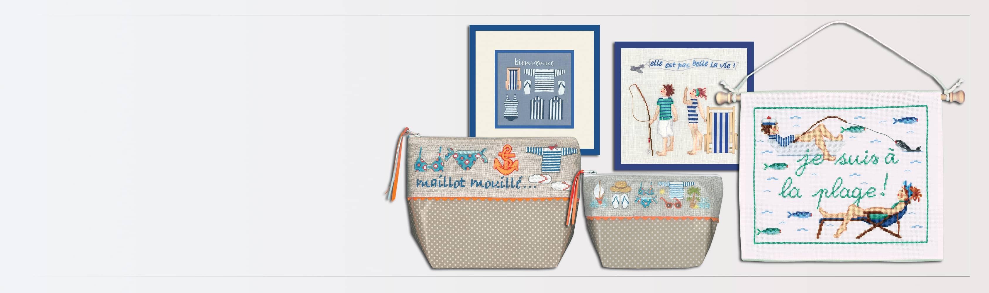 Tableaux et accessoires à broder au point compté. Thème: Bord de mer, plage. Création de Cécile Vessière pour Le Bonheur des Dames.