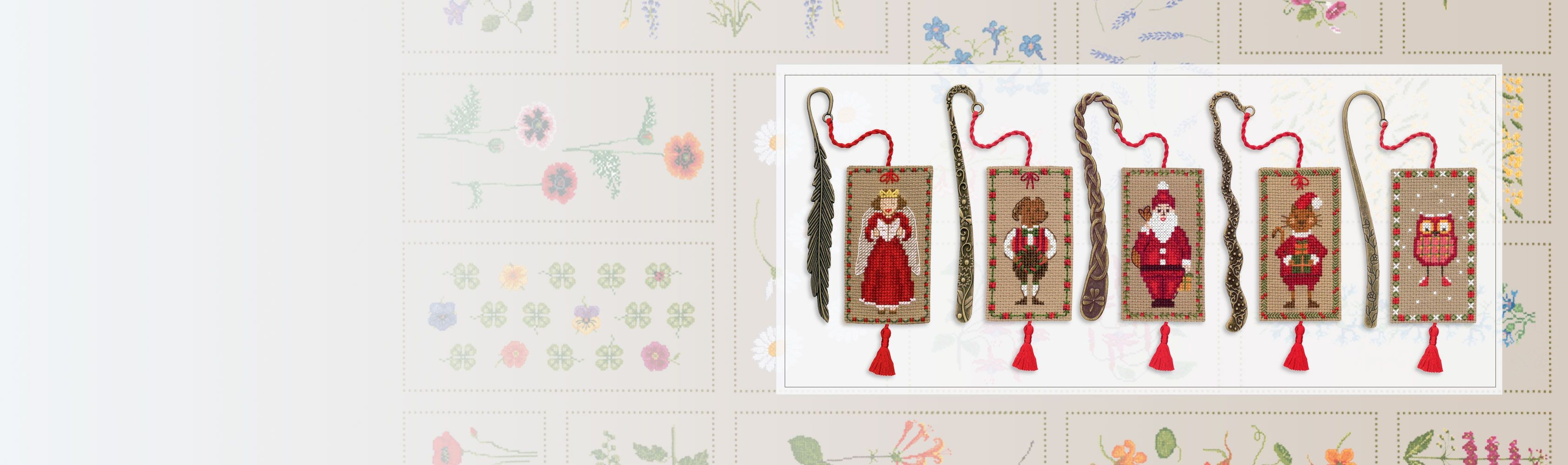 Counted cross stitch bookmarks for Christmas